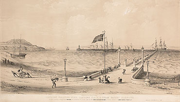 Artist's impression of Brunel's proposed Floating Pier for Portbury (Private collection)