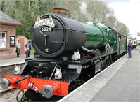 King Edward I class GWR locomotive The Bristolian at Crowcombe Heathfield station (photo by Tim King)