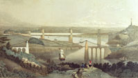 Menai bridges: Telford's in foreground, Robert Stephenson's at rearn (Elton Collection: Ironbridge Gorge Museum Trust)