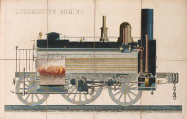 Victorian educational aid showing steam locomotive (Private collection)