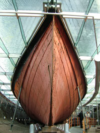 The ss Great Britain's bow  viewed from under the 'glass sea'