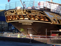 Newly gilded stern of ss Great Britain