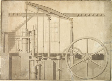 Engineering drawing of double-acting Watt-type stationary steam engine, by Joseph Clement (Elton Collection: Ironbridge Gorge Museum Trust)