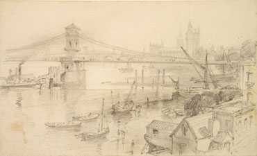 Brunel's Hungerford Suspension Bridge: demolished to make way for a new bridge at Charing Cross, its chains were used at Clifton (Elton Collection: Ironbridge Gorge Museum Trust)
